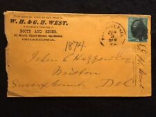 1874 ERA PHILADELPHIA, PA. ORANGE  ADVERTISING COVER+SOLID CANCEL+3 CENT STAMP!