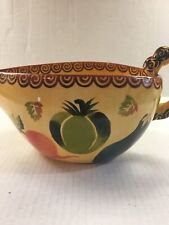 "Multicolored Decorative Vase With Handle 12""x6"" Leaf/Fruit Pattern Gold"