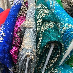 Indian Lace Floral Embroidered Fabric Wedding Bridal Sari Midi Dress Skirt Net