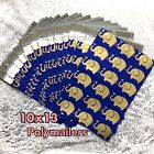 100 Designer Printed Poly Mailers 10X13 Shipping Envelopes Bags GOLD ELEPHANTS