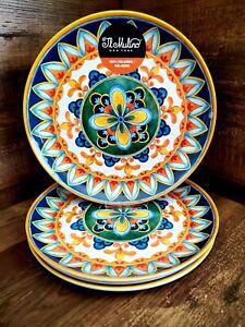 IL MULINO Melamine Mediterranean Spanish Tile Yellow Red Blue Dinner Plates 4pc