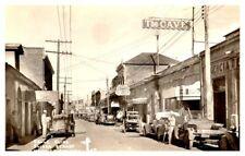 MEXICO Calle Elias Eliseo St. NOGALES Street Scene Stores Vtg. Cars RPPC 1940-50