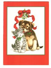 PUPPY DOG & CAT Creative Christmas Greeting Card w/ Envelope MG20