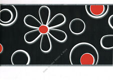 Black White Daisy Red Dot Flower Graphic Modern Contemporay Wall paper Border