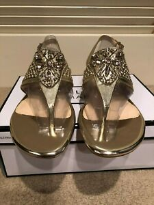 NIB Alex Marie Jayla Beaded TOTES GOLD Beaded Woven Leather Sandals Size 9.5