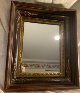 antique victorian DEEP WELL MIRROR Picture FRAME eastlake picture shadowbox gold