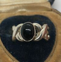 Vintage Sterling Silver Ring 925 Size 7.5 Black Onyx X