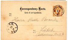 Austria 1887 2Kr Postal Stationery card from Worgl Bahnhof to Lubeck