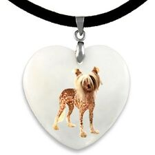 Chinese Crested Dog Natural Mother Of Pearl Heart Pendant Necklace Chain PP289