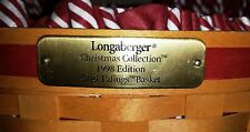 Longaberger Christmas Collection 1998 Edition Glad Tidings Basket, Liner & GofA