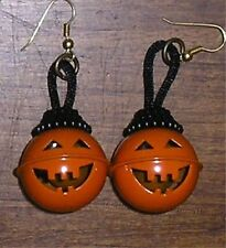 Pumpkin  Halloween Jack-O-Latern Bell Pierced Earrings Necklace Ornaments