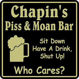 Bar Sign Personalized Name Piss & Moan Beer Pub Gift #9 Custom USA Made