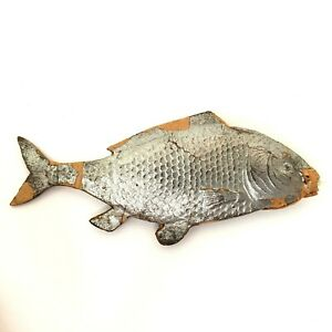 """Antique Silver Dresden Fish Christmas Ornament 4-1/4"""""""