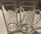 Luminarc~ EAGLE~Beer Mug/Glasses~Set of 2 Clear & Frosted Etched Glass. (France)