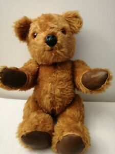 """Leather Pads Fully Jointed Bear Vintage Teddy With Square Face & Glass Eyes 16""""E"""