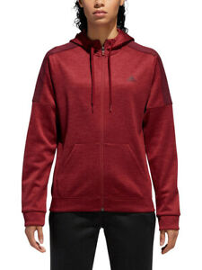 Adidas Women's Noble Maroon Red Team Issue Fleece Lined Full Zip Hoodie