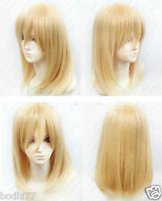 New Blonde Medium short Straight Anime party Cosplay Full Wig +  Gift Cap