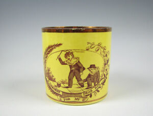 """Antique Canary Yellow Childs Mug """"A Present For My Dear Boy"""" Luster Trim"""