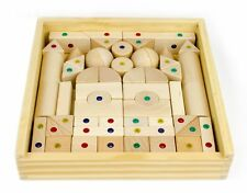 WIDU Architectural Magnetic Wood Blocks, 56 Piece Set in Wooden Keepsake Case