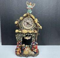 Vintage 2001 Herco Gift Christmas Nativity Manger Pendulum Clock