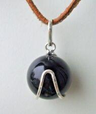 Obsidian, Kugel, Anhänger, Edelsteine, Heilstein, Schmuck, ca. 1,5cm, 950 Silber