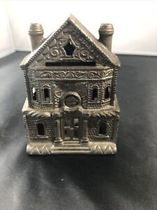 Vintage Two Story Victorian House Iron Still Coin Bank
