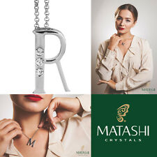 """16"""" Rhodium Plated Necklace w/ """"R"""" Initial & Crystals by Matashi"""