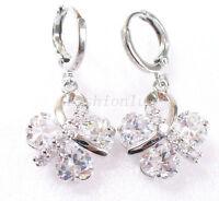 Women Clear Simulated Diamond White Gold Plated Dangle Butterfly Hoop Earrings
