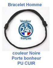 Bracelet HOMME Noir Réglable Kabbale Porte bonheur chance PU CUIR Envoi 24H