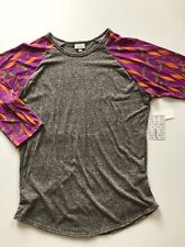 L Large Lularoe Randy NWT Gray Solid Body, GORGEOUS Purple Feather Sleeves