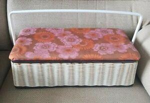 Vintage Retro 1960s 70s Sewing Storage Box Plastic Woven
