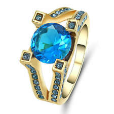 US SELLER AQUAMARINE SOLITAIRE Wedding Ring GOLD Plated SIZE 7.5 Women's Jewelry