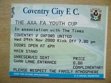 Tickets: AXA FA Youth CUP- COVENTRY v OXFORD UNITED, 29th November 2000
