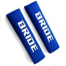2PCS jdm BRIDE Racing Blue Soft Cotton Embroidery Seat Belt Cover Shoulder Pads