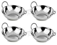 4 STAINLESS STEEL INDIAN BALTI KARAHI KADAI CURRY SERVING TABLE DISHES BOWL 15CM