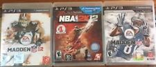 LOT OF 3 PLAYSTATION PS3 GAMES MADDEN NFL 13, MADDEN NFL 12, NBA 2K12 WITH CASE