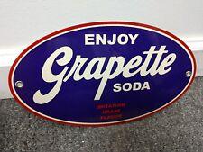 Grapette soda pop beverage oval sign