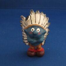 Smurfs 20144 Indian Chief Smurf Vintage Schleich Figure Pvc 1981 Black Feathers