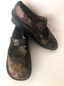 Alegria Paloma Multi Soft Metallic Mary Janes Bronze Black Gold Size 38 US 8