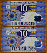 Two 1997 Netherlands 10 Gulden notes in Great Shape!