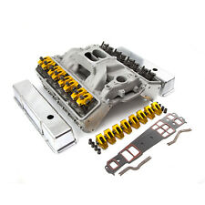 fit Chevy SBC 350 Angle Plug Hyd Roller Cylinder Head Top End Engine Combo Kit