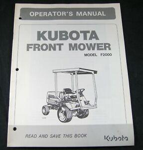 Kubota Front Mower Tractor Model F2000 Operators Operation Maintenance Manual