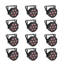 12 Pack DMX 4in1 Par Can Stage Lighting RGBW LED Par Lights 10W x 7LED