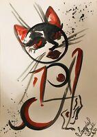 Margarita Bonke Malerei PAINTING erotica EROTIK Zeichnung akt nu art Katze Cat