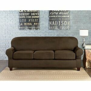 Sure Fit Suede Chocolate vegan leather Sofa Slipcover 3 cushion style t or box