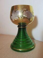 antique hand blown cut crystal Czech Bohemian gilt glass chalice wine cup