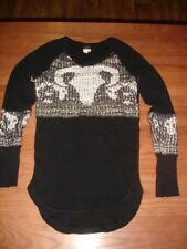 RARE WE THE FREE BLACK WESTERN COW BULL SKULL SWIT LOOSE KNIT WAFFLE THERMAL -XS