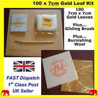 100 24K Genuine Gold Colour Leaf Sheets For Nail Art Crafts Design Gilding Brush