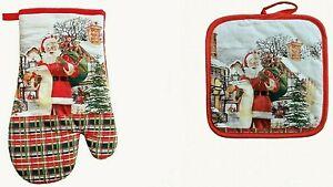 2er Set 1 Ofenhandschuh und 1 Topflappen Baumwolle Weihnachten Weihnachtsmann