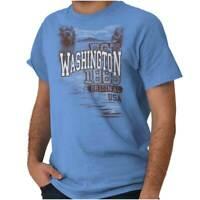 Washington Evergreen State Camping Souvenir Short Sleeve T-Shirt Tees Tshirts
